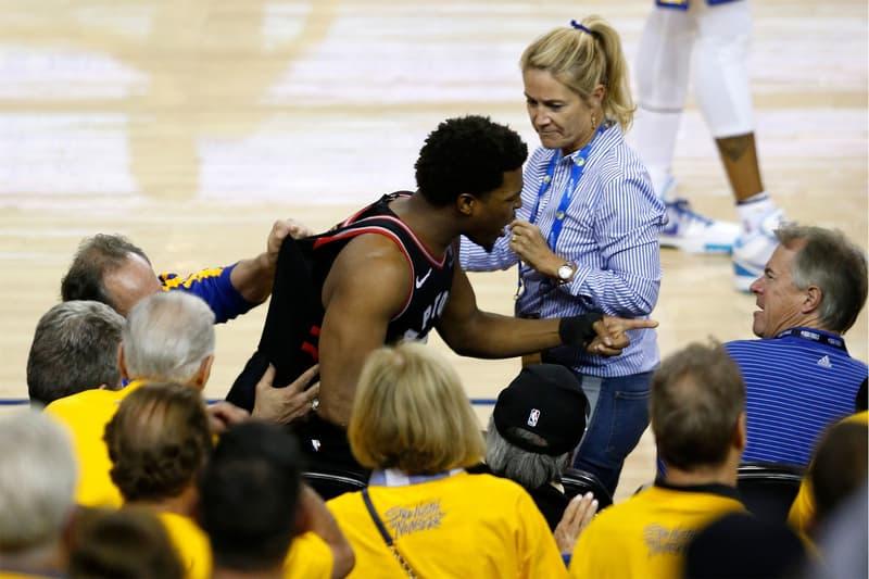"""NBA ファイナル ラプターズ raptors カイル・ラウリー Kyle Lowry 突き飛ばしたウォリアーズのファンがNBAから1年間の""""出禁""""に"""