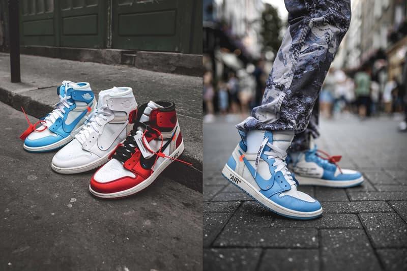 オフホワイト x エアジョーダン1のキッズサイズがリリース間近? Off-White x Air Jordan 1 Releasing in Kids Sizes three different colorways Chicago UNC and White powder blue virgil abloh jordan brand nike swoosh