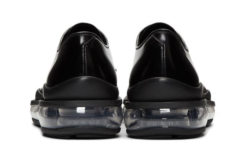 ブラダ prada black leather bounce derbys shoes release clear translucent sole