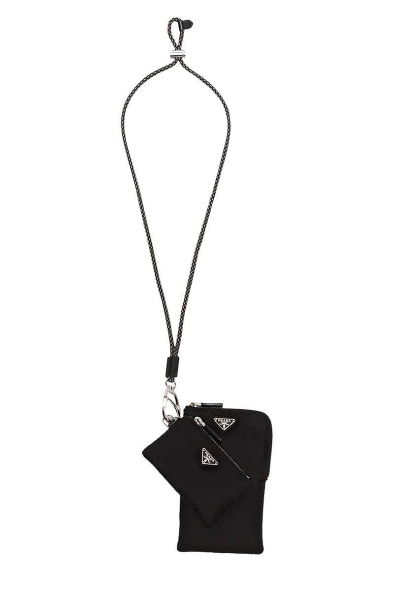 プラダ 新作 ネックウォレット Prada Pocone Lanyard Set Neck Bag Milano Triangle Badge Nylon Black Grey Cord Tie Strap Metal Stopper Emblem Plaques Saffiano Leather Trims