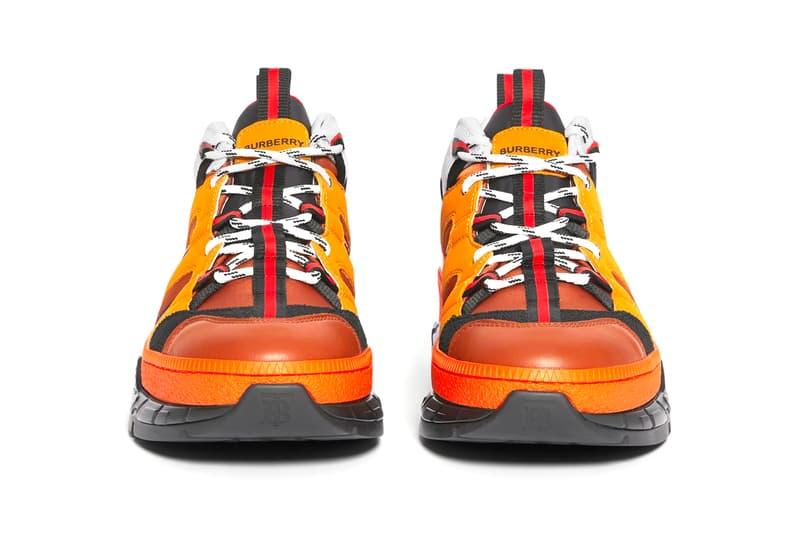 Burberry バーバリー Union ユニオン Sneakers オレンジ Orange runway Nylon Nubuck burnished leather patina made in italy リカルド ティッシ riccardo tisci British shoes footwear orange TB monogram traction progressive hi tech