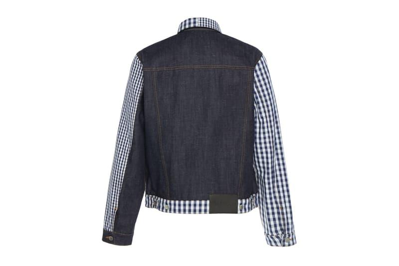 JW アンダーソン JW Anderson Patchwork パッチワーク ギンガムチェック デニム ジャケット Gingham Denim Jacket asymmetrical white navy check tailored jonathan anderson UK british label FW19