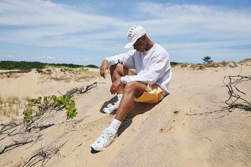 "KITH ""Oasis"" Capsule Campaign Imagery Lookbook Shots ASICS GEL-KAYANO 5 OG Sneaker Release Closer Look Clothing Apparel Drop Mini Logo T-Shirt Habit Tee Convertible Swim Shorts Serif Bucket Hat Ronnie Fieg"