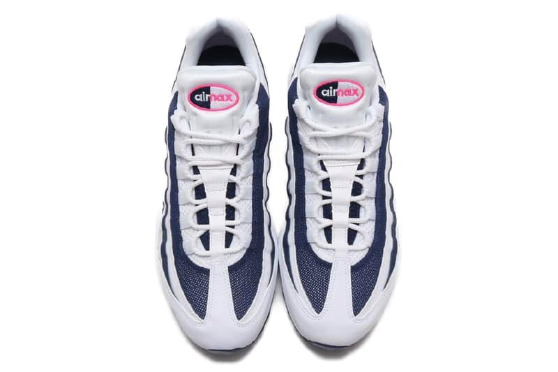 ナイキ 海の日 エアマックス95 Nike Air Max 95 Pink Blast Midnight Navy white air unit bubbles midsole 90s retro vintage footwear staple 95s stripes leather mesh sidewalls Swoosh Beaverton