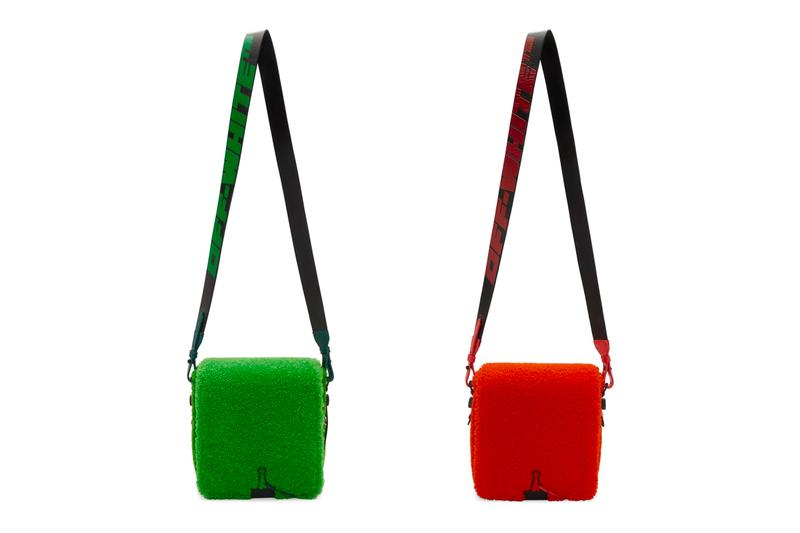 Off-White Sherpa Fleece Binder Clip Bag Release Red Green Virgil Abloh