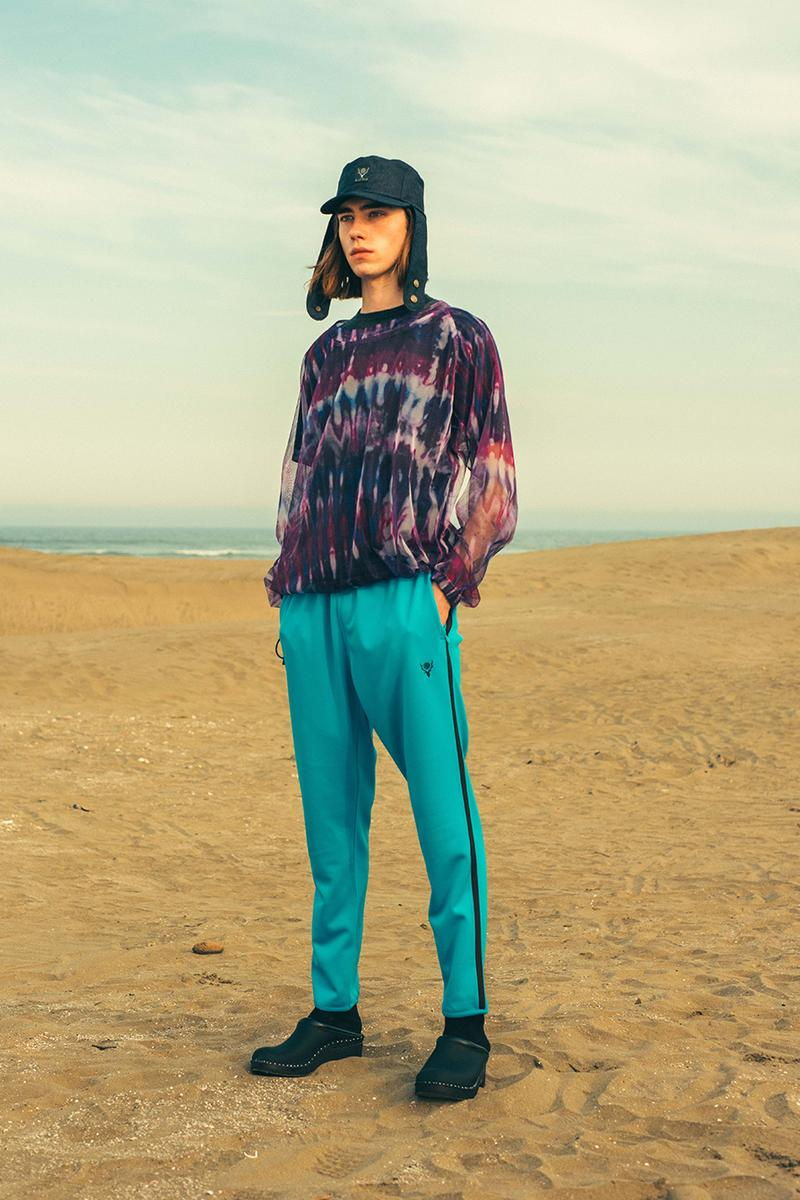 South2 West8 Spring Summer 2020 Lookbook outdoors beach weather summer hot windy wind unisex clothing NEPENTHES fishing paisley