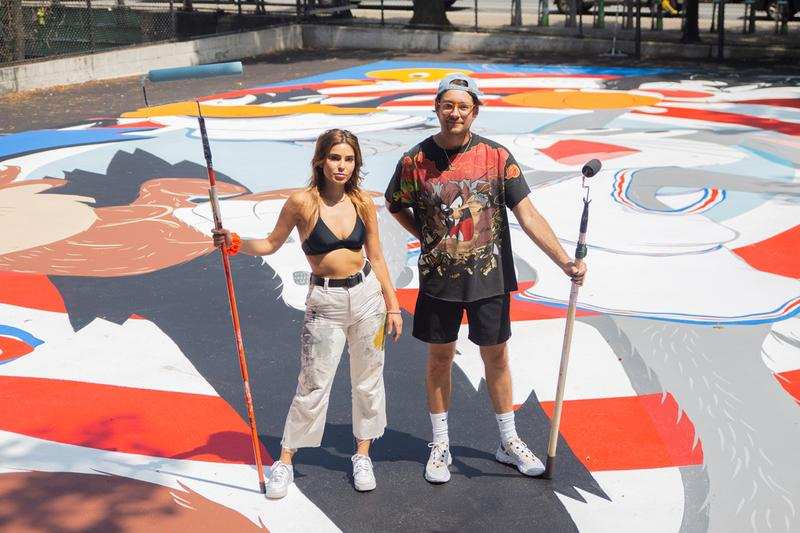 映画『スペース・ジャム』のキャラクターが一面に描かれたバスケットコートが誕生 evan rossell warner bros tune squad basketball court mural artwork street art