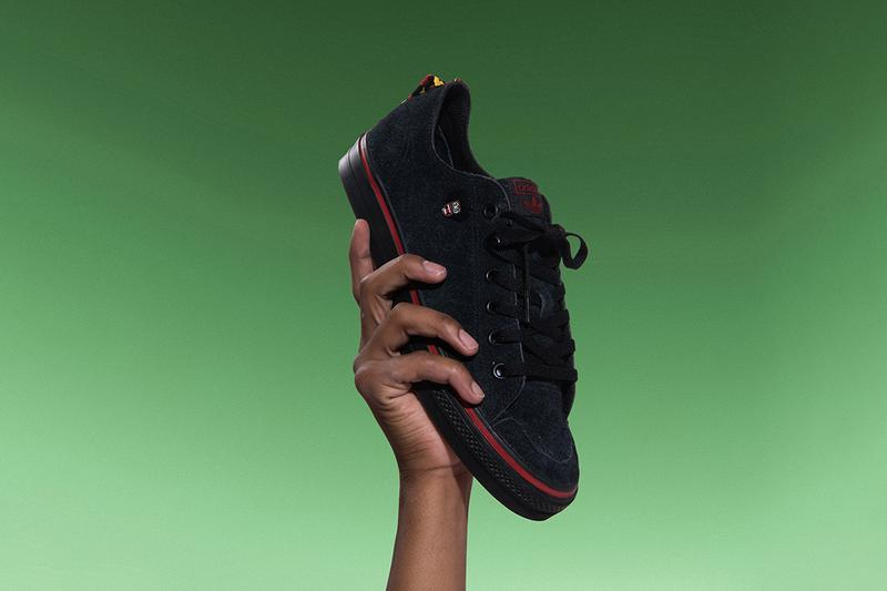 "Na-Kel Smith x adidas Skateboarding Nizza RFS High Top Low ""NAK"" Treatment Skate Shoes Sneakers Footwear Release Information Campaign Imagery Green Black Red White Premium Suede Upper Reinforced Toecap Trefoil logo"