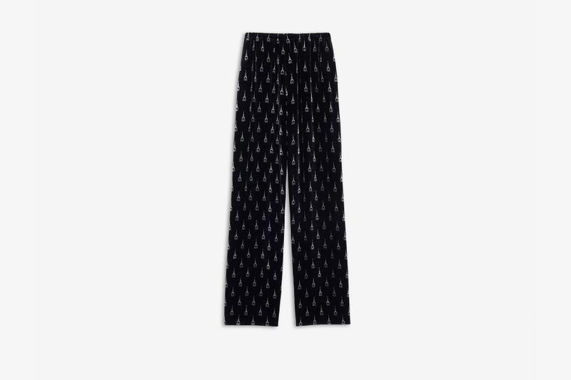balenciaga バレンシアガ fall 秋冬 コレクション 恋人 パリ ライフスタイル パリジェンヌ winter 2019 collection プレオーダー release drop preorder pyjama jacket pajama pants black silk velvet cosy bb slippers eiffel tower shape gold ring paris arch ring antique silver