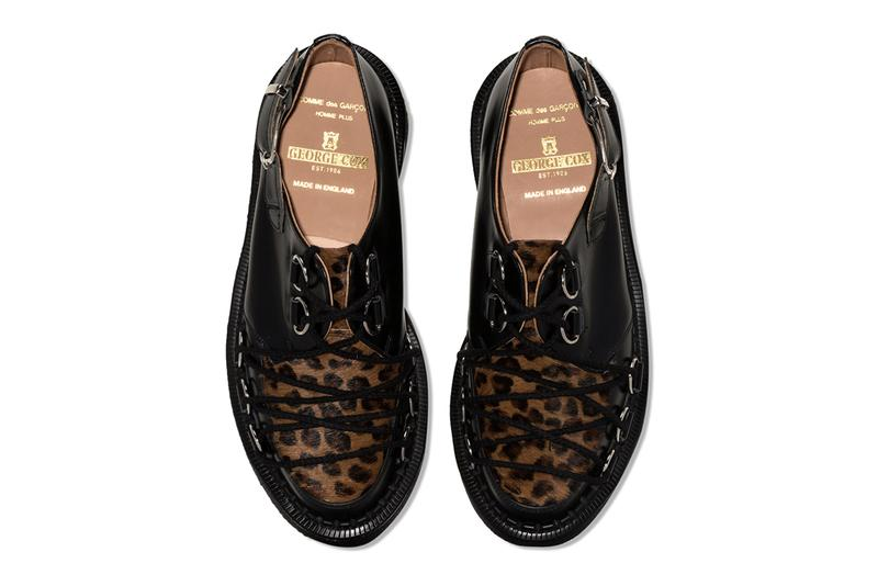 コムデギャルソン x ジョージコックスより新作コラボシューズが登場 Comme Des Garcons Homme Plus George Cox Leopard Creepers british footwear sneakers metal wilver toned hardware d ring bondage laces