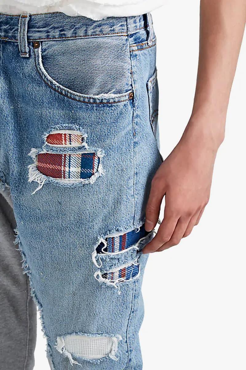 グレッグローレン スウェット デニム greg lauren denim french terry slim jeans patchwork plaid release