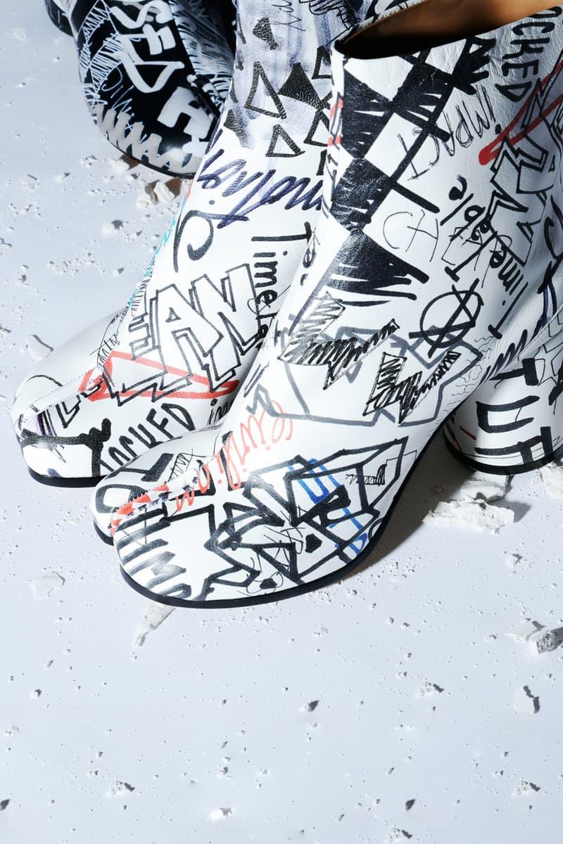 Maison Margiela メゾン マルジェラ Graffiti グラフィック 最新 カプセル コレクション Capsule Collection タビ 足袋 ブーツ 2way バケット バッグ Tabi Boots Bucket Bags Black White
