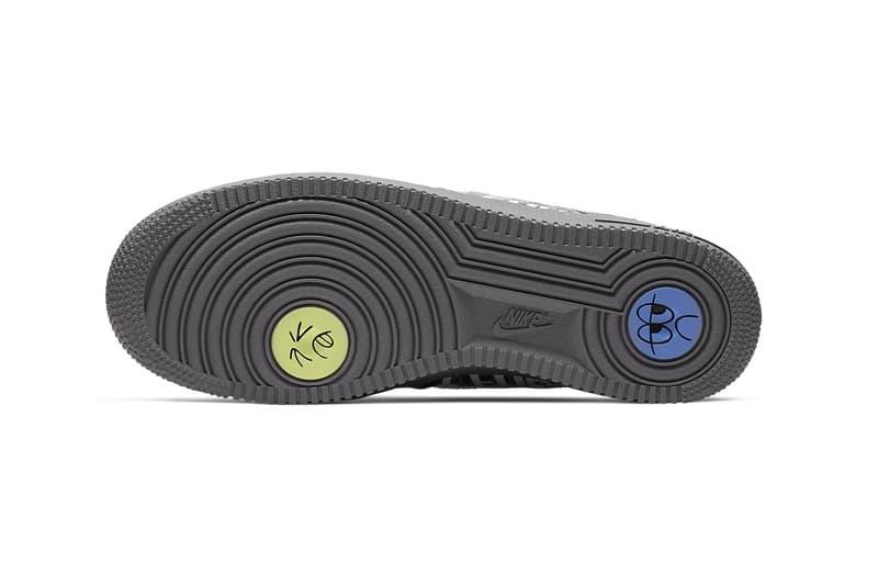 Nike Air Force 1 07 Premium Off Noir Pure Platinum face doodles art outsole midsole teal transparent rubber swoosh air unit cushioning footwear sneakers