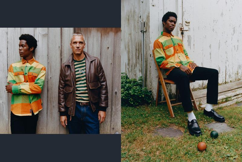 NOAH NYC Fall/Winter 2019 Lookbook Collection Sweaters Turtlenecks Shirts Jackets Pants Sweatshirts Save the Whales Red Blue Green Stripes Tweed Plaid
