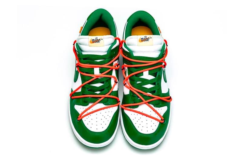 オフホワイト x ナイキ ダンク ヴァージル・アブロー Off White Nike Dunk Low Pine Green Detailed Look Virgil Abloh Release info Date White 2019 images