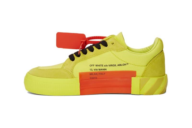 オフホワイト エッセンス ヴァージル アブロー 限定 スニーカー フットウェア  バルカナイズ ローカットoff white ssense exclusive low top vulcanized sneakers green yellow blue release  スニーカー