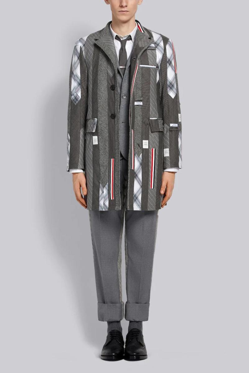 Thom Browne Tie Inserts Single Breasted Coat Release patchwork outerwear jackets