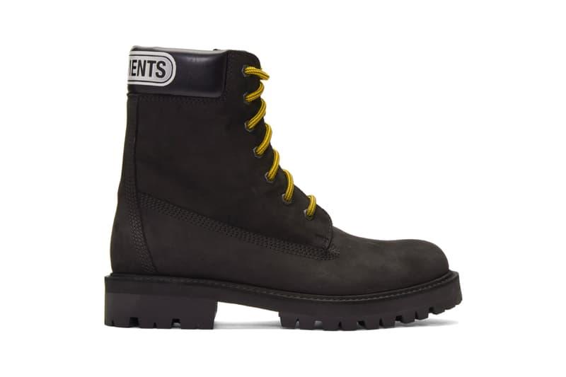 Vetements ヴェトモンTrucker Boots 2019 秋冬 コレクション Release Info Buy Black ブラック 新作ブーツ ssense エッセンス