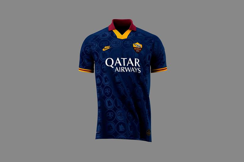 as roma 2019 20 third kit serie a italy europa league navy blue galiorossi gold yellow red jacquard pattern futura swoosh tick Nike branding buy cop purchase order vintage retro