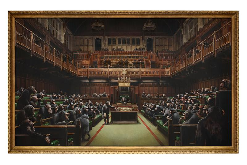 banksy sotheby's devolved parliament political art work chimps chimpanzees politicians house of commons buy price 1.5 2 million most expensive ever see