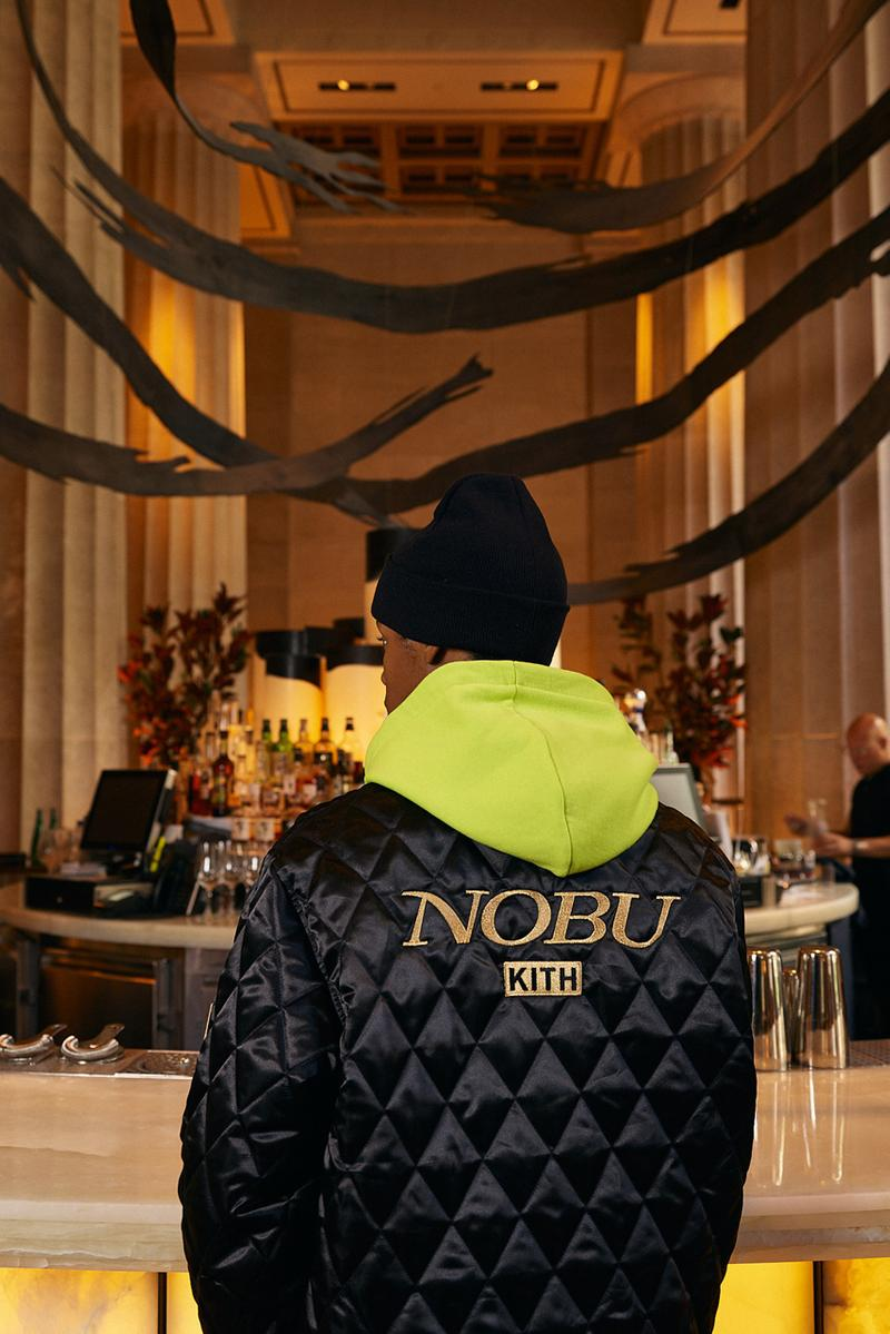 Nobu ノブ キス KITH Capsule Collection 松久信幸 コラボ カプセル ニューエラ New Era Cap Quilted Coaches ニューヨーク Jacket Quarter Zip Collared Shirt Sakura Koi Fish Green Pink Black Gray Gold Treats Caramel Soba Cha Swirl Banana Soy French Toast Milkshake collaboration lookbook