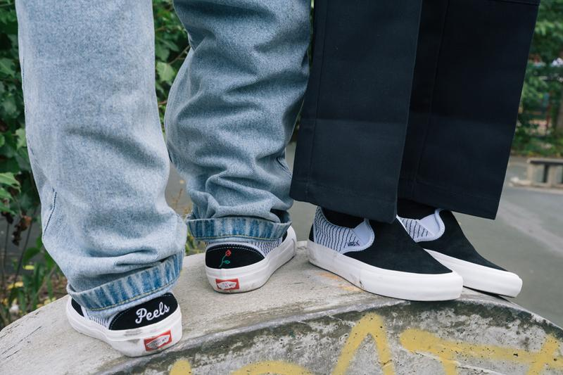 ピールズ × ヴァンズ コラボレーション Peels Vans Sneaker Apparel Collection Collaboration Rose Stripes Classic Slip-Ons Black White Red Green Shirts Long-Sleeves Crewneck