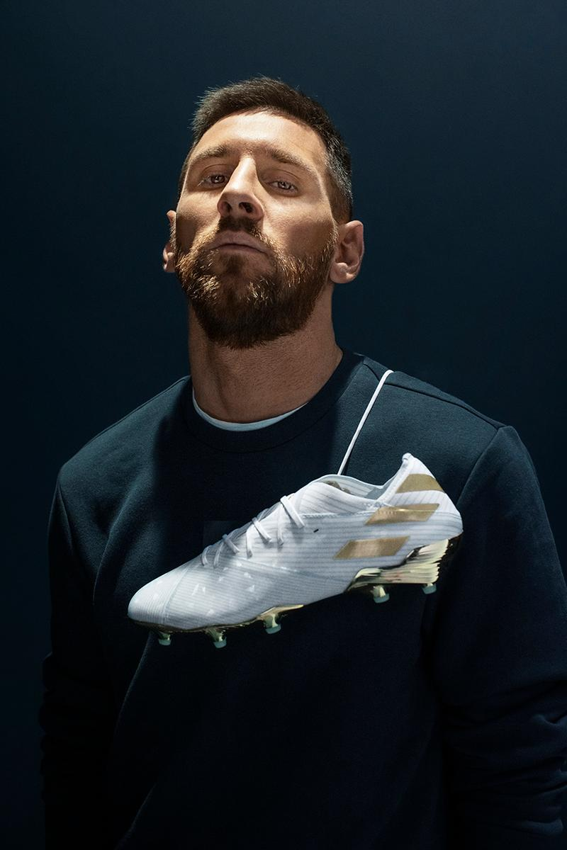 adidas football lionel messi leo barcelona argentina 15 years anniversary debut release information white blue gold buy cop purchase nemeziz 19+ celebrate