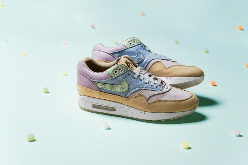 "ナイキ エアマックス1 Ryustyler Chase Shiel ""Wagashi"" Air Max 1s Info Pastel Pink Blue Green Beige Tan Leather Chrysanthemum"