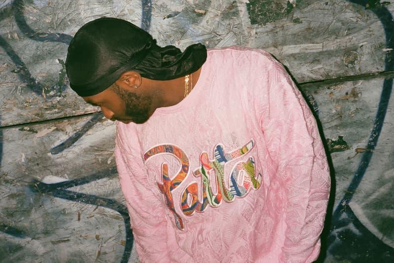 coogi patta classic crewneck sweater pastel pink release kaleidoscope logo patch rainbow colorway