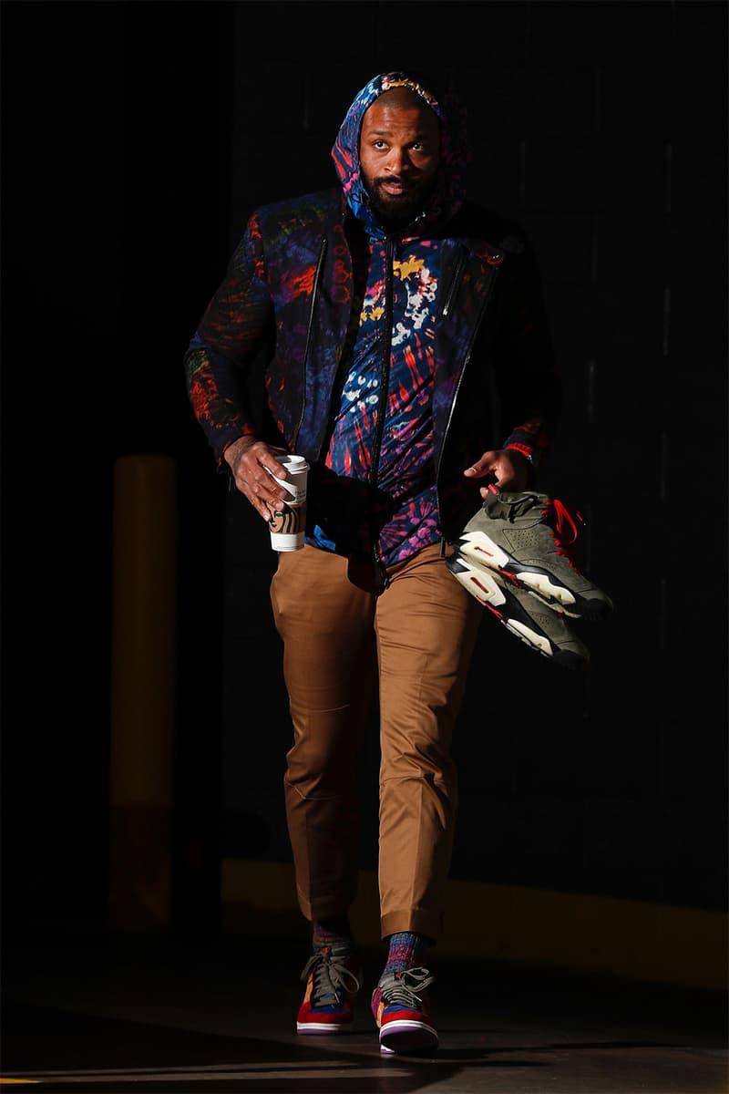 PJ・タッカーがNBA試合でエアジョーダン6 x Travis Scottを着用 PJ・タッカーがNBAの公式試合で Air Jordan 6 x トラヴィス・スコット を着用