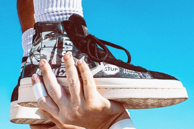 pleasures プレジャーズ converse コンバース pro leather プロレザー black white ブラック ホワイト stop lying now teaser release ハイトップ