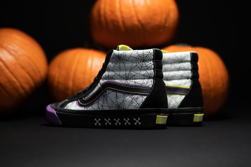 "size? x Vans Sk8-Hi ""Halloween"" Release Information First Look Collaboration Skateboarding Shoe Sneaker OG Archive Design Artwork Spooky Season Spiderwebs Skulls Crossbones Trick or Treat"