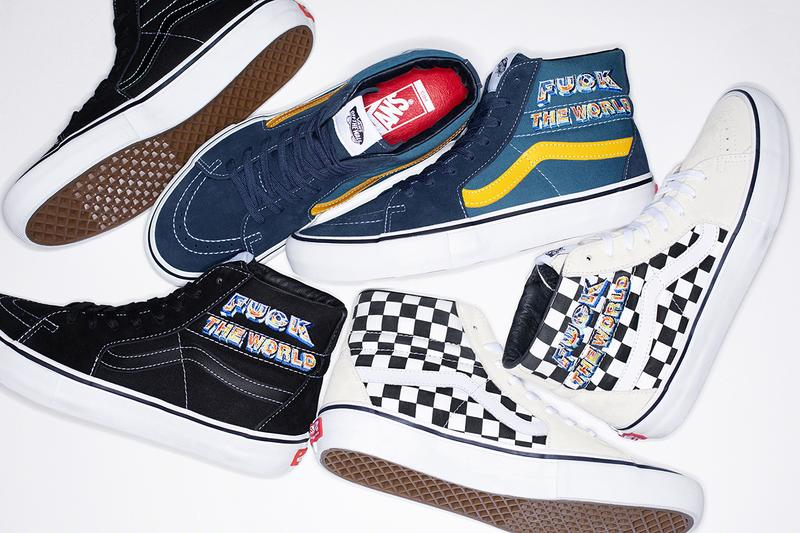 シュプリーム x ヴァンズ Supreme x Vans による2019年秋冬シーズンのコラボ Sk8-Hi が登場 Supreme Vans FW 19 SK8 Hi fuck off flames white black blue yellow cream checkerboard
