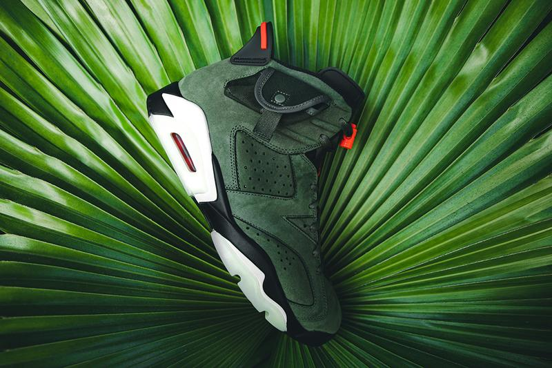 トラヴィス・スコット x エアジョーダン  ナイキ travis scott air jordan brand 6 cactus jack closer look buy cop purchase raffle olive green red infrared branding white black translucent midsole glow in the dark hbx dover street market la flame
