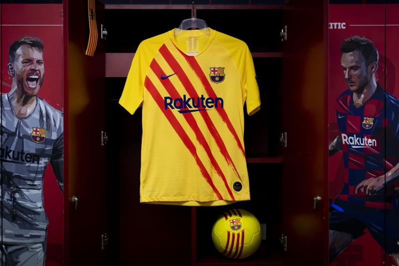 Barcelona Fourth Kit 2019/20 nike soccer football la liga messi Catalan flag Senyera yellow red