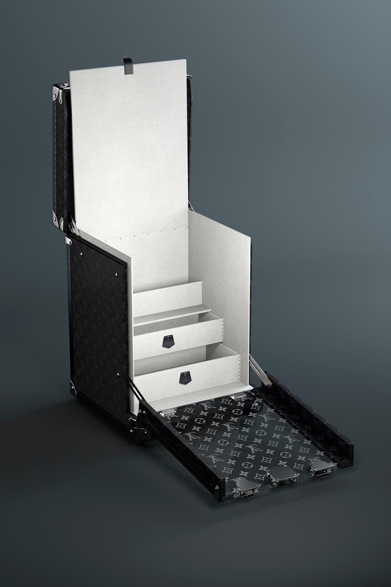 ルイ・ヴィトンがモノグラムを全面にまとったスニーカーボックスを発表 Louis Vuitton Black Single Sneaker Box Trunk Release Info Onyx Display Presentation