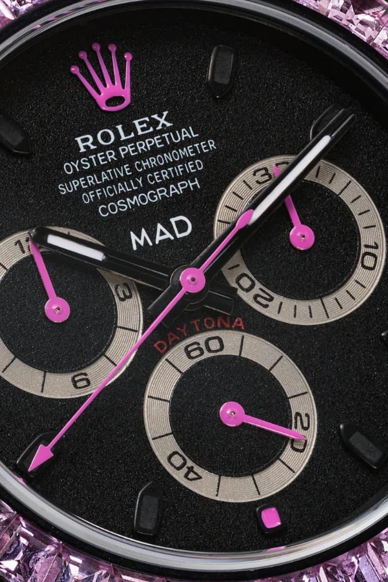 MAD Paris Black Rolex Daytona Pink Sapphire Watch timepieces accessories browns fashion