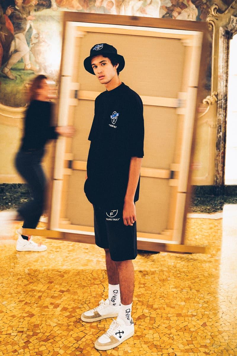 "Off-White™が最新カプセルコレクション""SURRENDER""を発表 ""SURRENDER"" Capsule Collection Hoodies T-shirts Mock Necks Shirts Button Down Long Sleeves Bucket Hats Denim Shorts Salmon White Black Tape"