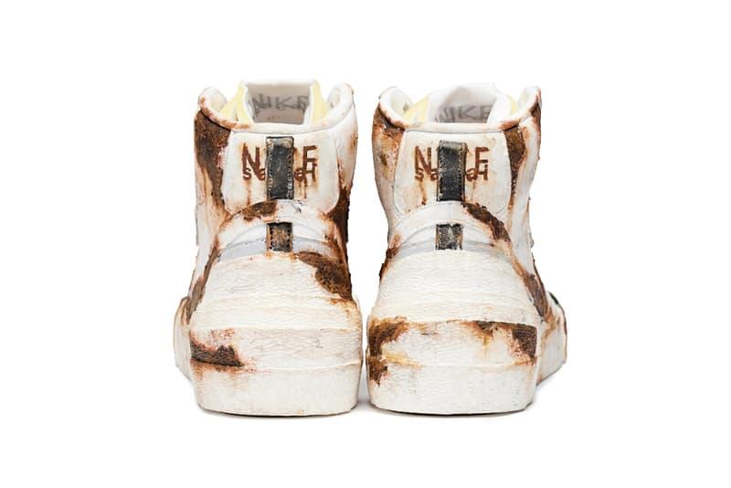 "PRINCIPE PRIVÉ sacai x Nike Blazer Mid ""Rust"" painted custom sneaker collaboration november 11 2019 japan release date colorway"