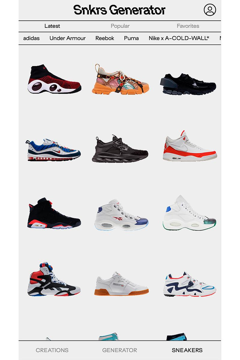 Sneakers Generator スニーカージェネレーター App Custom Silhouettes アプリ アイフォン Info nike adidas off-white ナイキ アディダス エアジョーダン jordan gucci customization material color accessories design details nss factory deconstruction digital technology