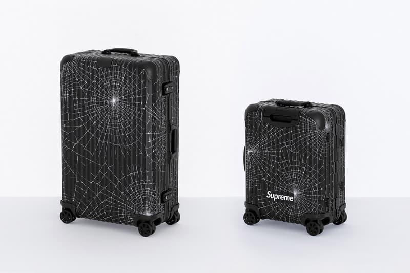 Supreme x RIMOWA Spring 2019 Custom Suitcases aluminum bodies black anodized spiderweb monogram print