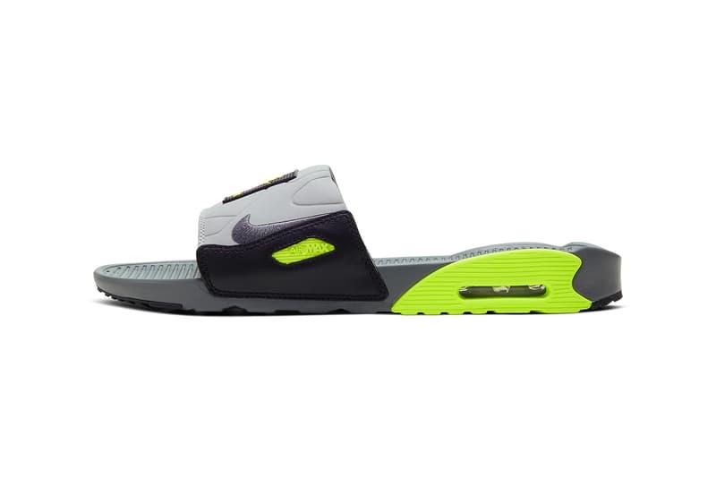 ナイキ・エアマックス90 サンダルタイプの Nike Air Max 90 がリリース nike air max 90 slide sandal smoke grey black volt white rose pure platinum cool grey BQ4635 001 002 100 release date info photos price