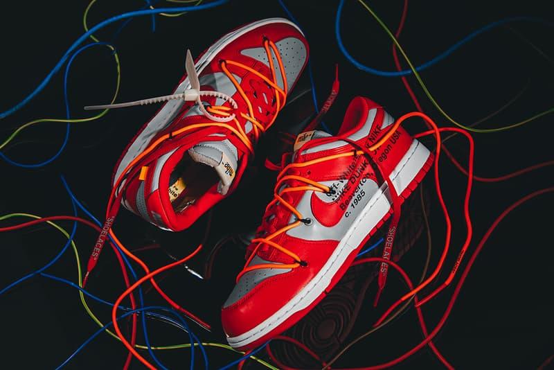 オフホワイトx ナイキ ダンク 3型にクローズアップ Off-White™ Nike Dunk Low virgil abloh university red gold pine green release information buy cop purchase details sneaker footwear sb
