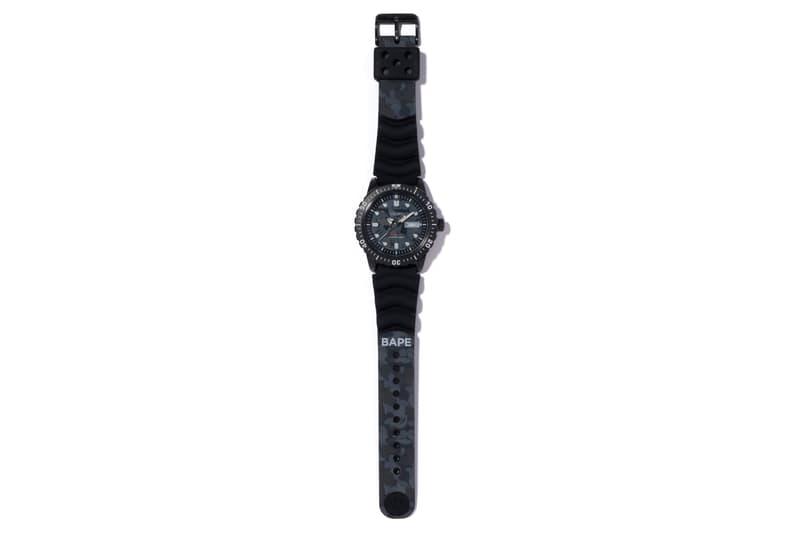 BAPE ベイプ  A BATHING APE ア ベイシング エイプ カモ柄 Seiko メカニカル ダイバーズウォッチ 腕時計 コラボ Mechanical Diver's Watch Black Gray Camo