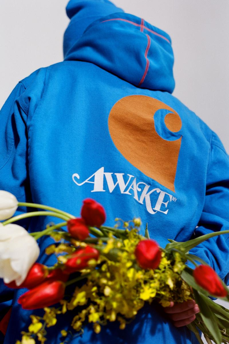 アウェイク NY カーハート WIP Awake NY × Carhartt WIP がコラボカプセルコレクションをリリース Awake NY x Carhartt WIP Capsule Collection release drop info vintage hunting outerwear outdoors workwear michigan coat american script jersey Watch Hat beanie in Black, Hamilton Brown, and Awake NY Bright Blue