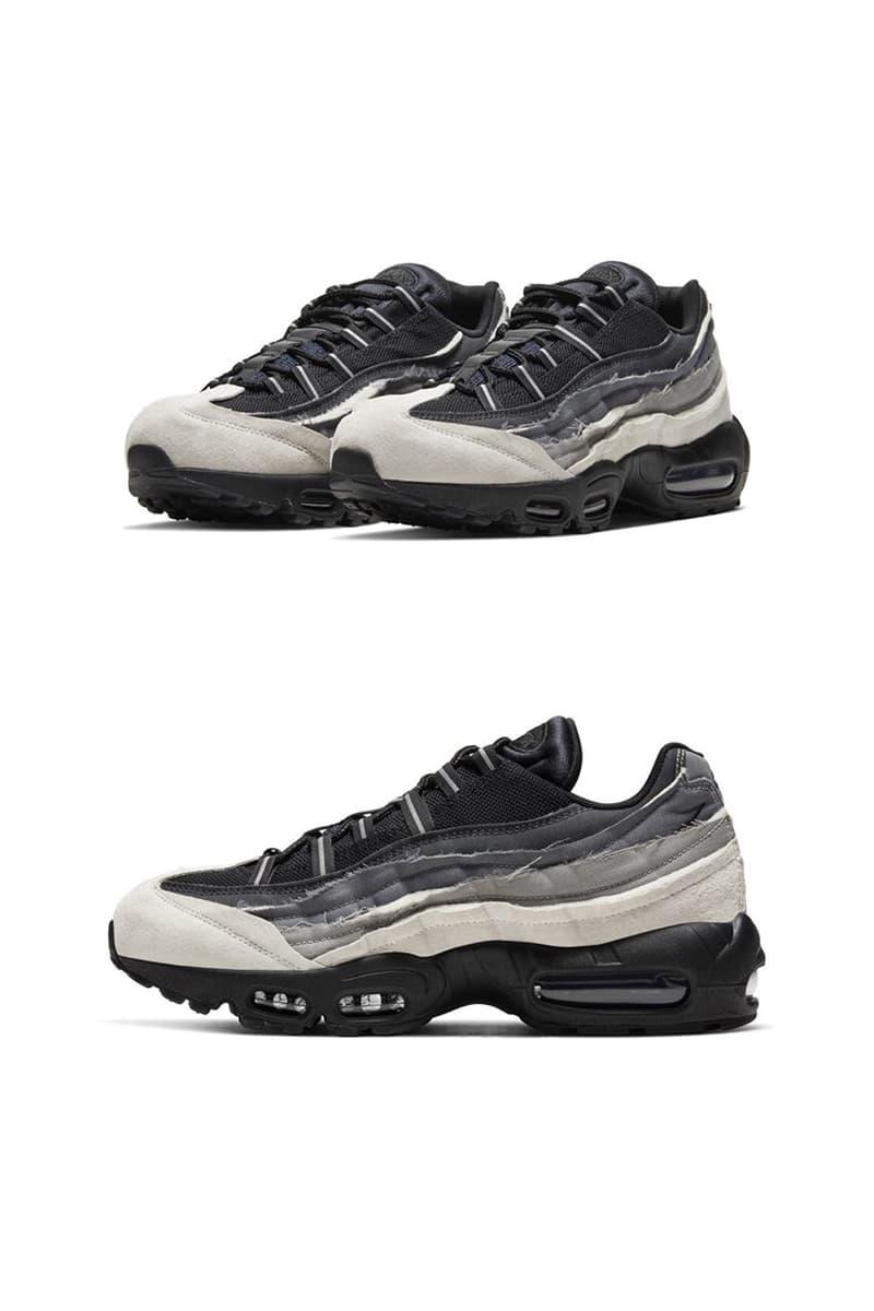 CdGとナイキによるエアマックス 95の公式ビジュアルが浮上 コムデギャルソン COMME des GARÇONS HOMME PLUS x Nike Air Max 95 closer look release information buy cop purchase black white grey release information off-white paris fashion week spring summer 2020