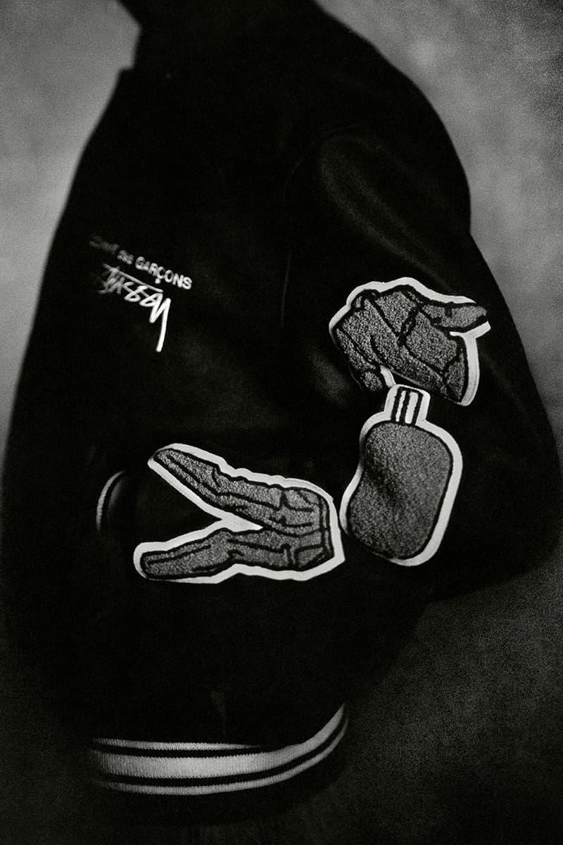 ステューシー コム デ ギャルソン STÜSSY × COMME des GARÇONS によるコラボジャケットがリリース COMME des GARÇONS Stüssy 40th Anniversary Varsity Jacket Release Info Buy Price Where Melton Wool Black