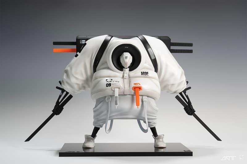 アーティストの Daytoner とアートトイのプロデューサー PureArts がタッグを組み、新作のフィギュアを発表 Daytoner Debuts Battle-Ready Robotic Sculpture purearts Master 9 Eyes M9E katana backpack sneakers puffer coat vinyl figure art toy resin character design streetwear