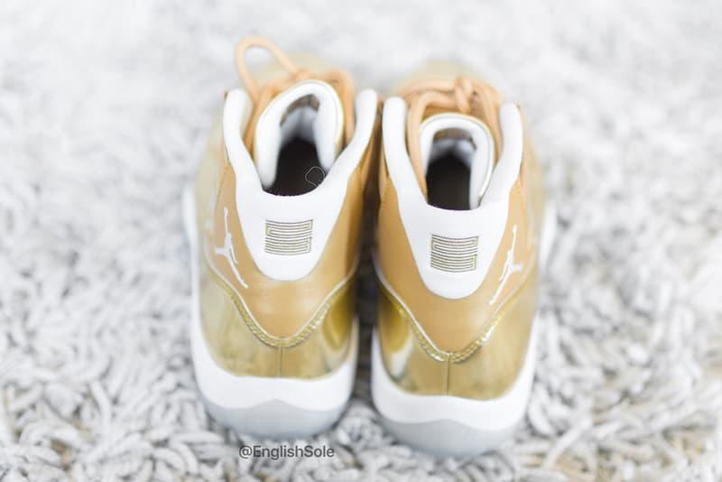 黄金に光り輝く OVO × Air Jordan 11 のビジュアルが公開 Drake's Unreleased Gold OVO Air Jordan 11 Closer Look Official Golden Flecks Metallic Icy Sole Unit Jumpman 23 Shoetrees Glitter Highly Limited Samples 10 Pairs Shoes Footwear Sneakers