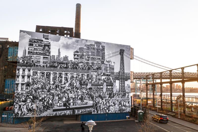 ジェイアール NY ドミノパークにストリートアーティスト JR の巨大壁画が登場 jr chronicles of new york mural domino park stacked shipping containers